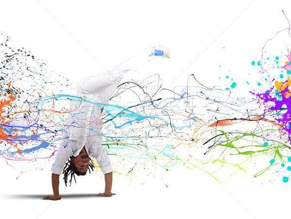 Capoeira férfi fehér tánc tánc sport Stock fotó © alphaspirit