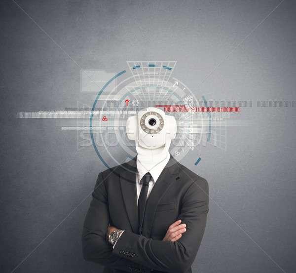 Imprenditore telecamera di sicurezza testa business televisione sicurezza Foto d'archivio © alphaspirit