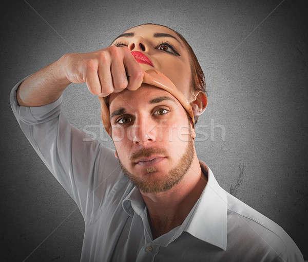 Man with woman face Stock photo © alphaspirit
