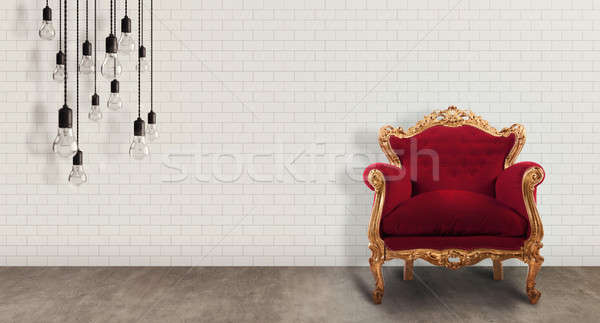 мебель комнату красный барокко кресло стены Сток-фото © alphaspirit