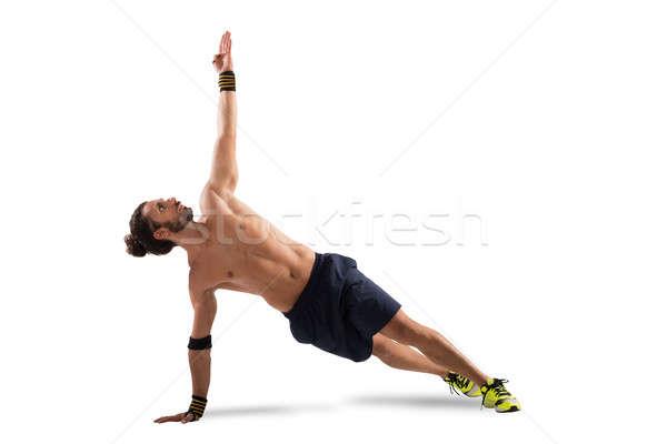 Pilates posa uomo posizione fitness Foto d'archivio © alphaspirit