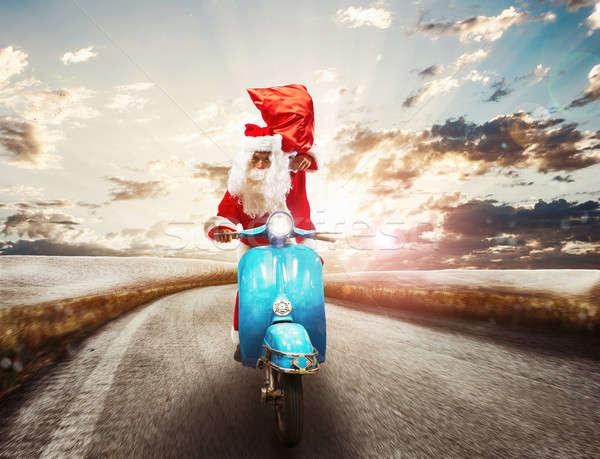 Gyors mikulás motorbicikli hamar ajándékok férfi Stock fotó © alphaspirit