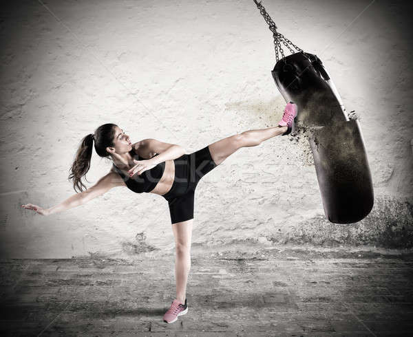 Fitboxe woman coach Stock photo © alphaspirit