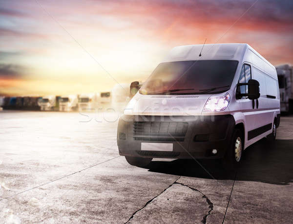 Transport truck ready to deliver packages. 3D rendering Stock photo © alphaspirit