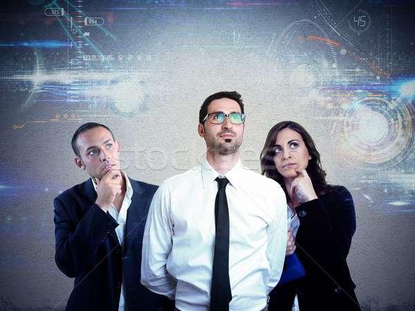 Müdür dijital tanıtım planları gelecek iş Stok fotoğraf © alphaspirit