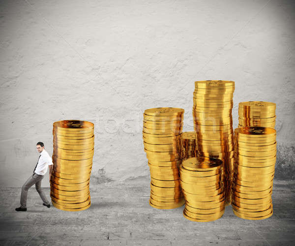 Zakenman munten groep geld moeilijkheid Stockfoto © alphaspirit