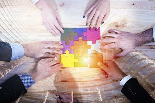 Teamwerk partners integratie startup puzzelstukjes verdubbelen Stockfoto © alphaspirit