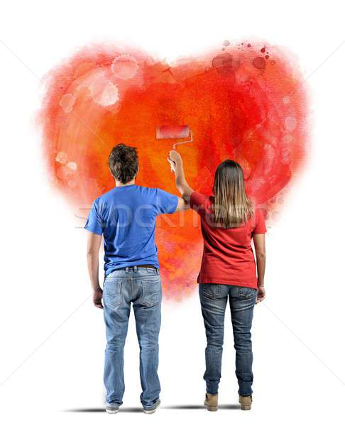 Couple dessin coeur mur fille heureux Photo stock © alphaspirit