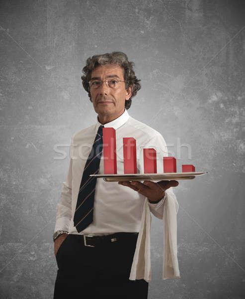 Zakenman negatieve statistiek dienblad man werk Stockfoto © alphaspirit