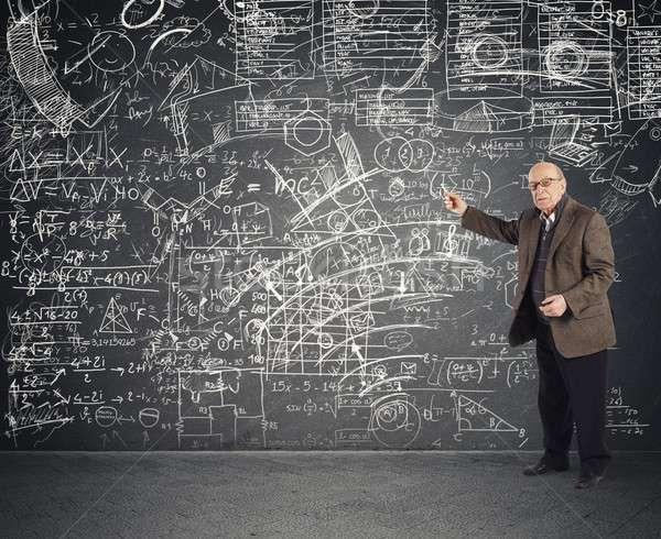 Dahi öğretmen karmaşık ders adam Stok fotoğraf © alphaspirit
