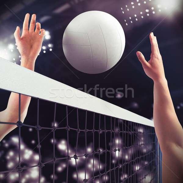 волейбол матча мяча чистой спорт свет Сток-фото © alphaspirit