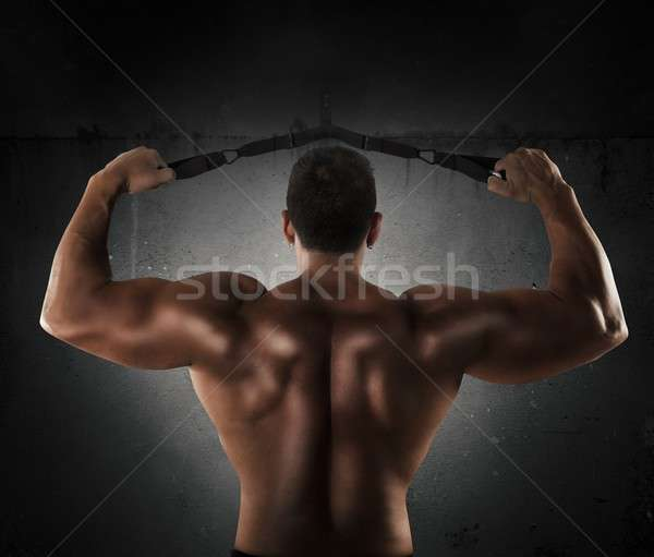 Shoulder muscles with trx Stock photo © alphaspirit