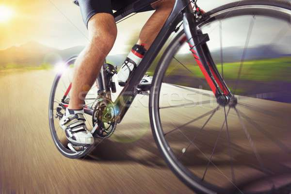 Mountain bike runs fast Stock photo © alphaspirit