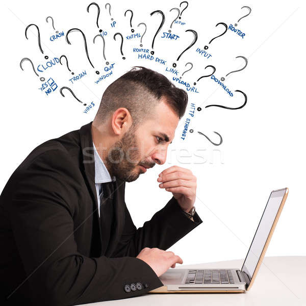 Wątpliwości komputera biznesmen człowiek sieci internetowych Zdjęcia stock © alphaspirit