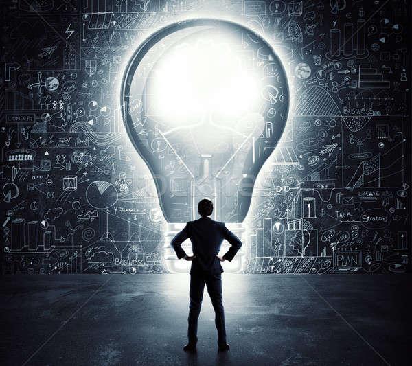 ストックフォト: 電球 · ドア · ビジネスマン · ルックス · ビッグ · 穴