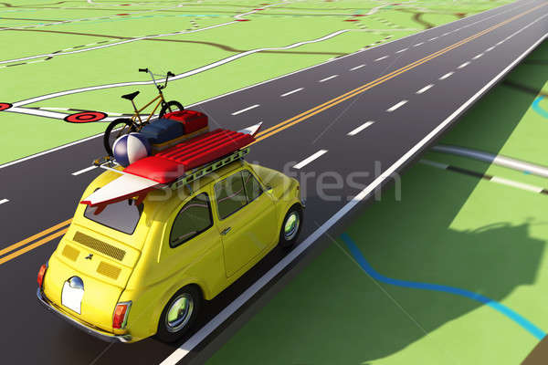 Car loaded with luggage on the road to summer vacation. 3D Rendering Stock photo © alphaspirit