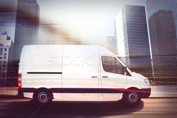 Stock fotó: Gyors · furgon · város · út · 3D · renderelt · kép