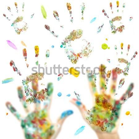 El Ayak Izleri Renkli Boya Kalemleri Neseli Eglence