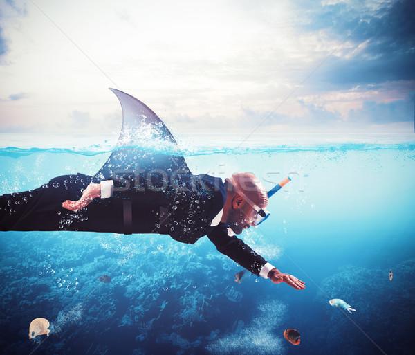 Tubarão empresário barbatana trabalhador financiar poder Foto stock © alphaspirit