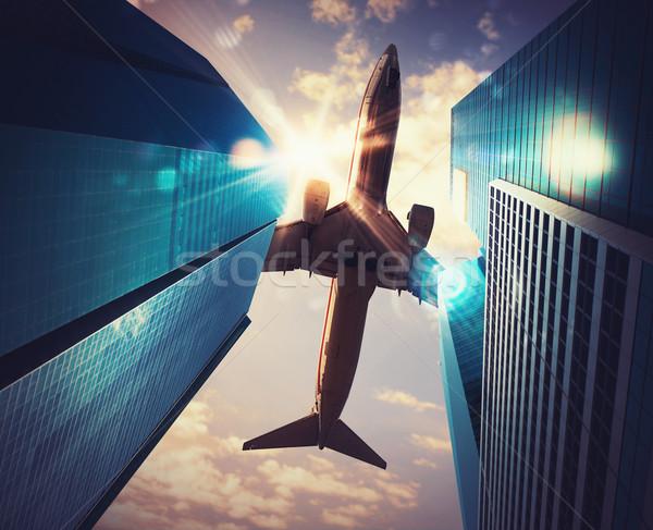Aeronave cidade céu dois arranha-céus escritório Foto stock © alphaspirit