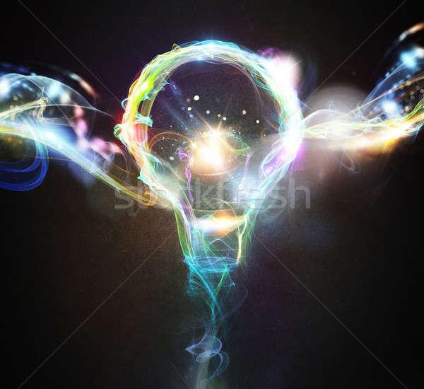 カラフル 照明 電球 電球 効果 ストックフォト © alphaspirit