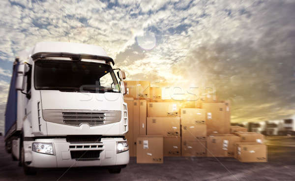 Truck in a deposit with packages ready to start Stock photo © alphaspirit