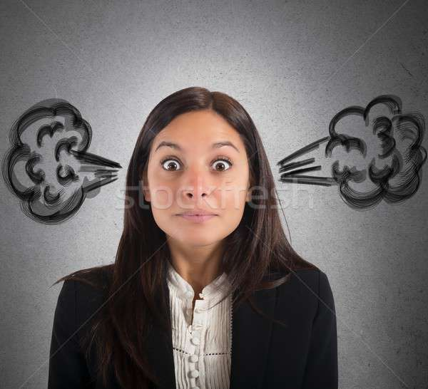 Businesswoman brain in smoke Stock photo © alphaspirit