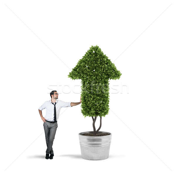 Businessman that cultivates a plant with a shape of arrow. Concept of growing of company economy . Stock photo © alphaspirit