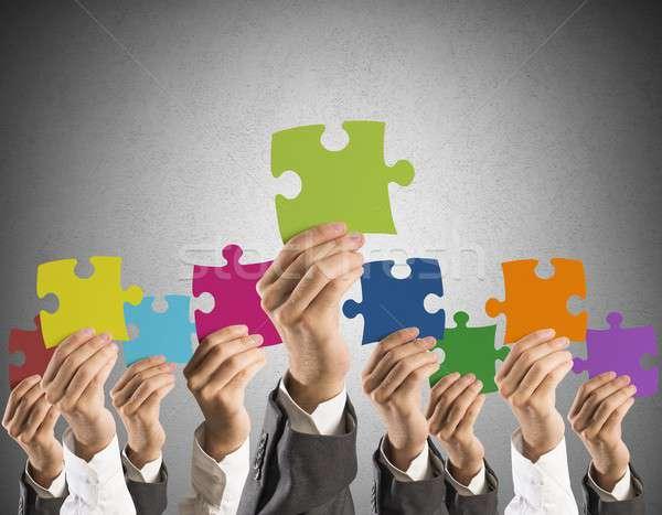 Foto stock: Trabajo · en · equipo · integración · concepto · empresario · colorido