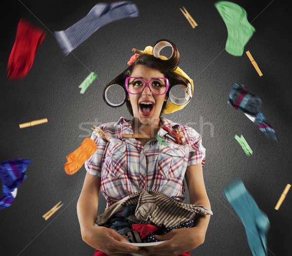 Explosion buanderie vintage ménagère panier à linge femme Photo stock © alphaspirit