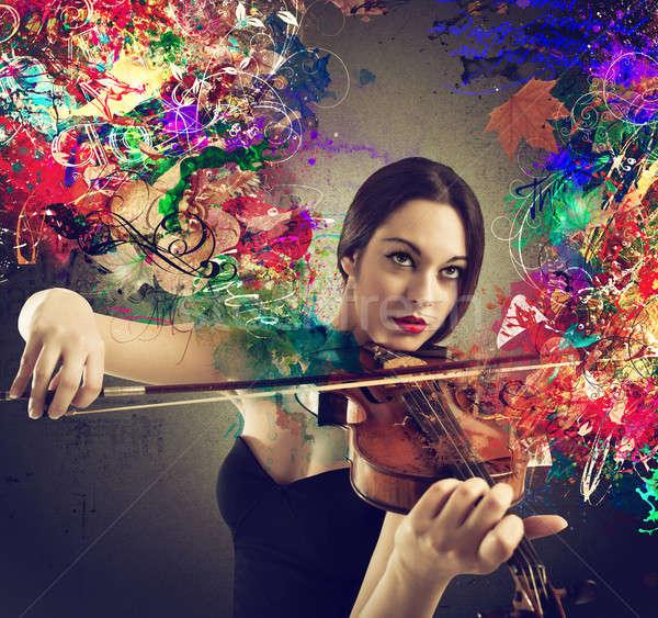 Gyönyörű hegedűművész lány hegedű szín effektek Stock fotó © alphaspirit