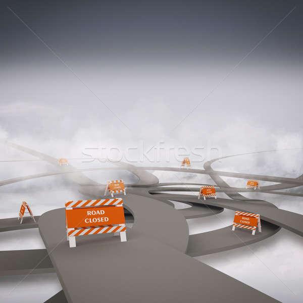3D wegen weg straat veiligheid Stockfoto © alphaspirit