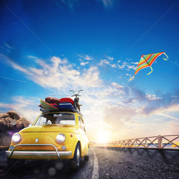 3D rendering of holiday on the road Stock photo © alphaspirit