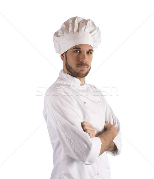 Profi szakács portré szakács szakács sapka férfi Stock fotó © alphaspirit