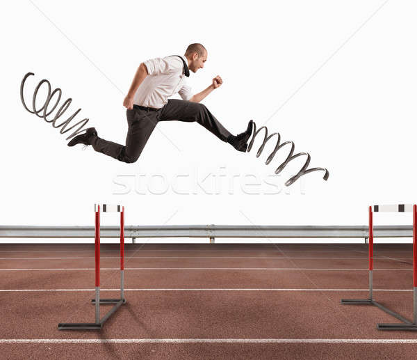 Stock photo: Fast businessman overcome and achieve success. 3D Rendering