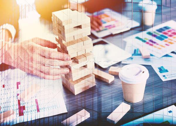 Equipo gente de negocios construir construcción trabajo en equipo Foto stock © alphaspirit