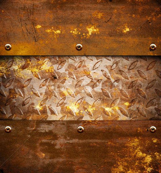 Rozsdás fém öreg barna textúra háttér Stock fotó © alphaspirit