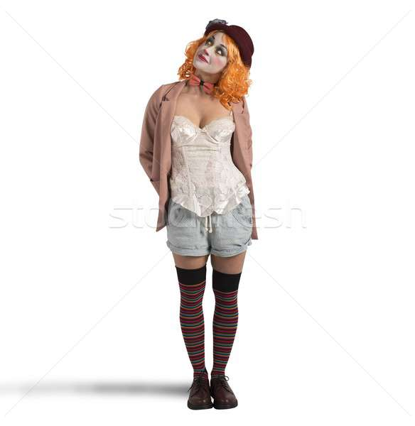 Nadenkend clown vrouw verkwistend meisje vintage Stockfoto © alphaspirit