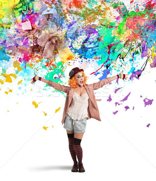 Artistiek clown glimlachend gekleurd decoraties bloem Stockfoto © alphaspirit