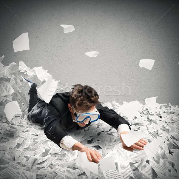 плавать бюрократия бизнесмен маске морем Финансы Сток-фото © alphaspirit