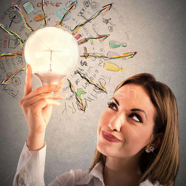 Działalności kobieta interesu żarówka kobieta elektrycznej Zdjęcia stock © alphaspirit