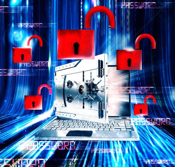 Parola 3D dizüstü bilgisayar izlemek banka Stok fotoğraf © alphaspirit