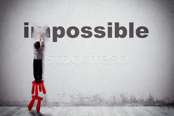 Changement impossible possible enfant mot mur Photo stock © alphaspirit