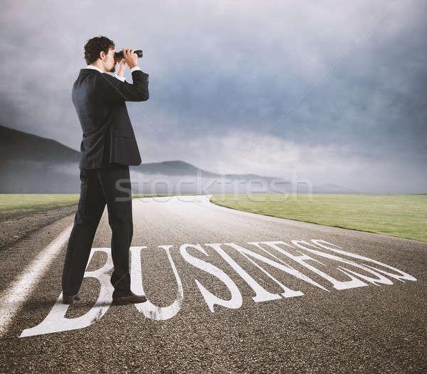 Zakenman business succes economisch toekomst Stockfoto © alphaspirit