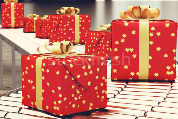 Xmas gift box on conveyor roller. 3D Rendering Stock photo © alphaspirit