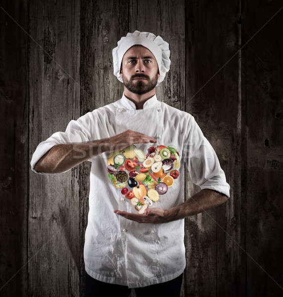 Chef healthy cooking Stock photo © alphaspirit
