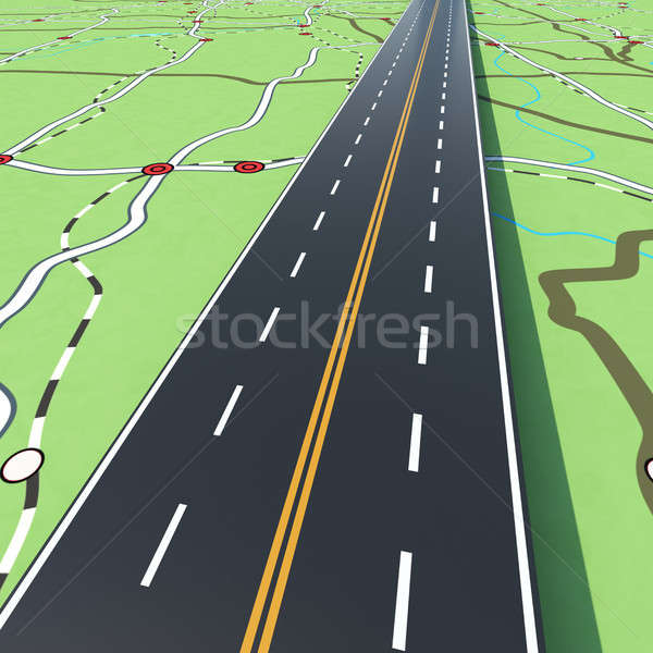 Highway on a road map. 3D Rendering Stock photo © alphaspirit