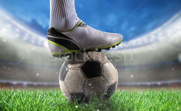 Soccer player with soccerball at the stadium ready for World cup Stock photo © alphaspirit