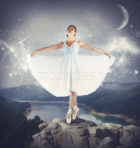 Dancing on a rock Stock photo © alphaspirit