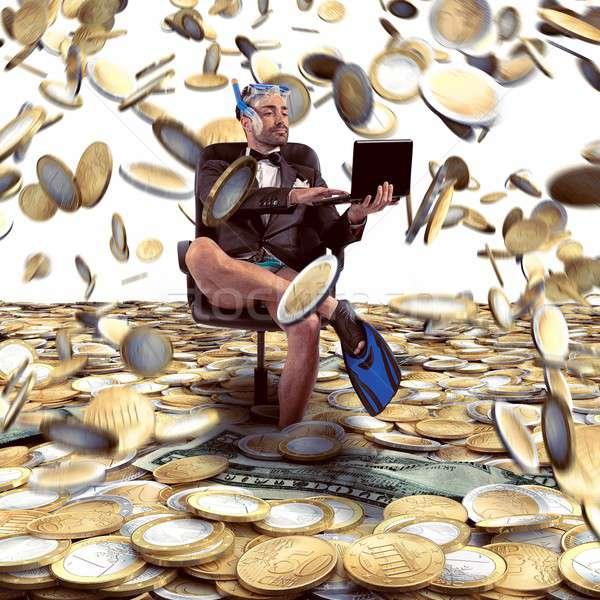 Regen geld zakenman internet man leuk Stockfoto © alphaspirit